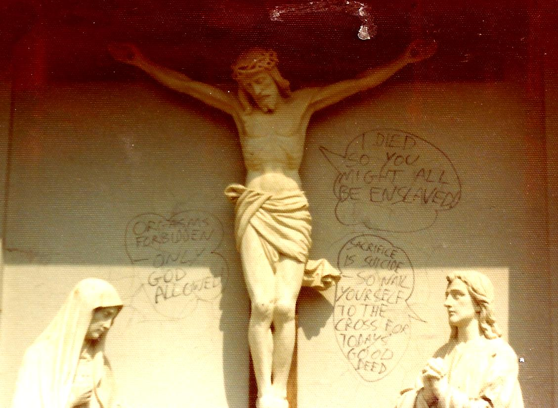graffiti jesus on cross