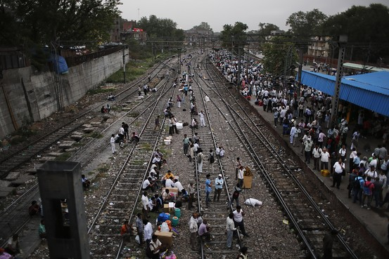 Delhi - passnegers on track 23 6 14