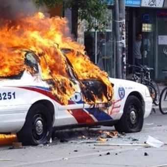 cop car burning 3