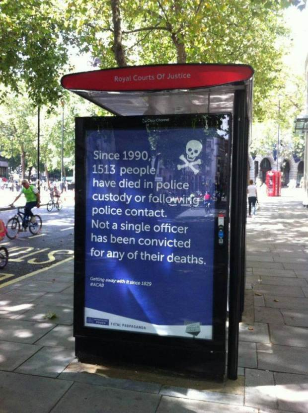 Police called out on public posters, near Scotland Yard Source: Twitter/@SpecialPatrols